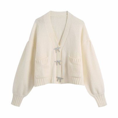 Women's Bow Button Sweater Cardigan Coat Nihaostyles Wholesale Clothing NSAM81823