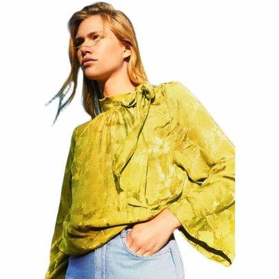Women's Silk Satin Texture Jacquard Top Nihaostyles Wholesale Clothing NSAM81826