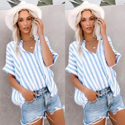 Women's Striped Button Short Sleeves Blouses Nihaostyles Wholesale Clothing NSJRM81829