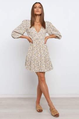 V-neck Five-point Sleeve Short Floral Dress Nihaostyles Wholesale Clothing  NSJRM81832