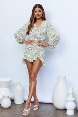 Women's V-neck Print Irregular Floral Dress Nihaostyles Wholesale Clothing NSJRM81833