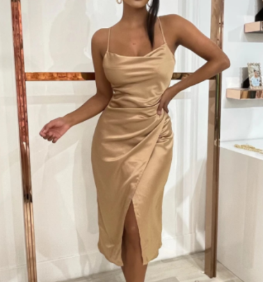 Satin Sling Sexy Evening Dress Nihaostyles Wholesale Clothing NSAM81818