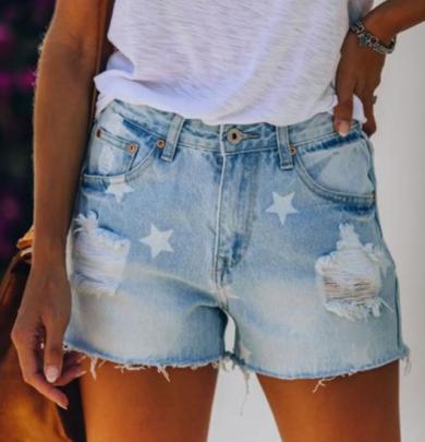 Ripped Mid-waist Star Pattern Raw Edge Denim Shorts Nihaostyles Wholesale Clothing NSJRM81830