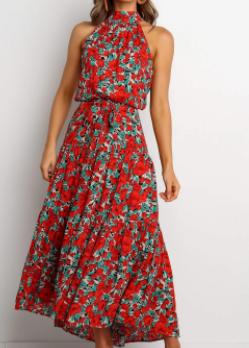 Women's Halterneck Exposed Shoulder Large Swing Beach Dress Nihaostyles Wholesale Clothing NSJRM81814