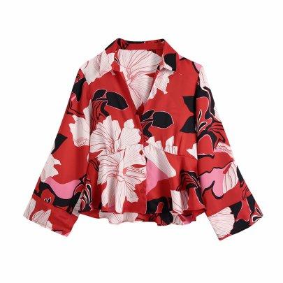 Autumn V Neck Flower Print Blouse Nihaostyles Wholesale Clothing NSAM81825