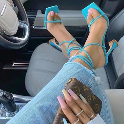 Women's Lace-up Square Toe High Heel Sandals Nihaostyles Wholesale Clothing NSSO81837