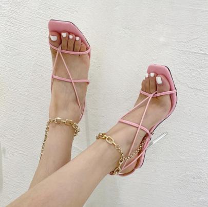 Women's Square Toe Chain Flip-flop Stiletto Sandals Nihaostyles Wholesale Clothing NSSO81839