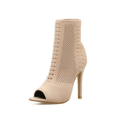Women's Stretch Knitted Fish Mouth High Heel Boots Nihaostyles Wholesale Clothing NSSO81845