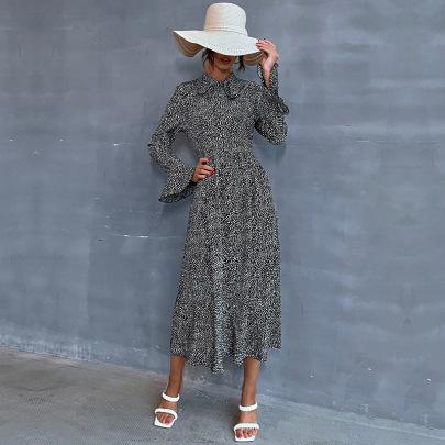 Polka Dot Print Doll Collar Casual Dress Nihaostyles Wholesale Clothing NSDMB81859