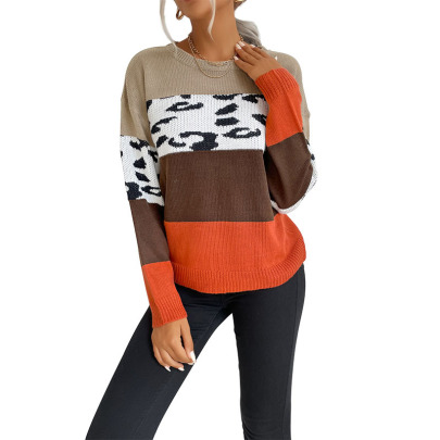 Round Neck Color-blocking  Leopard Knitted Sweater Pullover Nihaostyles Wholesale Clothing NSDMB81861