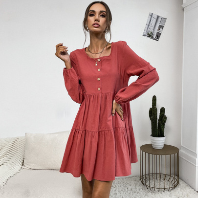 Women's Round Neck Pleated Solid Color Dress Nihaostyles Wholesale Clothing NSDMB81863