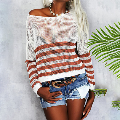 Autumn And Winter Round Neck  Stripes Sexy Perspective Sweater Nihaostyles Wholesale Clothing NSZH81864