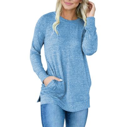 Women's  Round Neck Solid Color Pocket T-shirt Nihaostyles Wholesale Clothing NSLZ81875