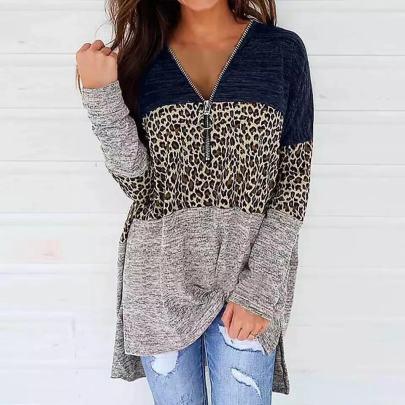 Autumn And Winter  Women's V-neck Zipper Leopard Print Long-sleeved Sweatershirt Nihaostyles Wholesale Clothing NSLZ81876