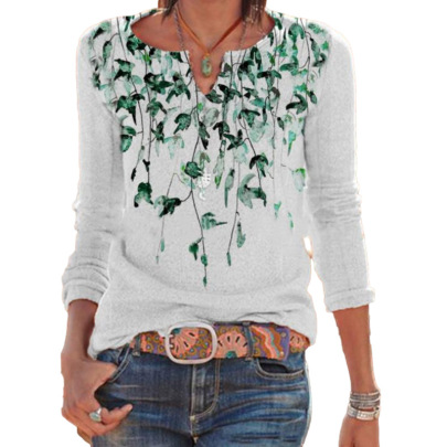 Women's V Neck Positioning Leaf Print Casual Loose T-shirt Nihaostyles Wholesale Clothing NSLZ81877