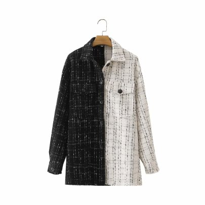 Autumn Black And White Color Matching Coat Nihaostyles Wholesale Clothing NSAM81881