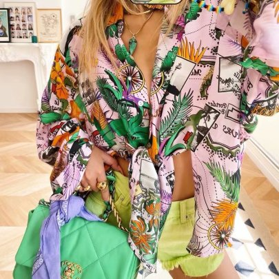 Autumn Tropical Style Print Blouse Nihaostyles Wholesale Clothing NSAM81883