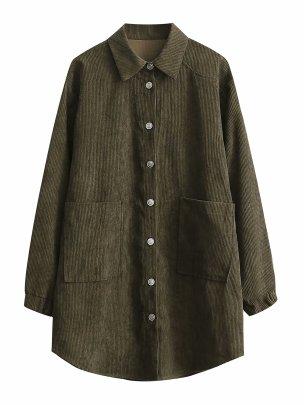 Women's Corduroy Mid-length Shirt Jacket Coat Nihaostyles Wholesale Clothing NSAM81896