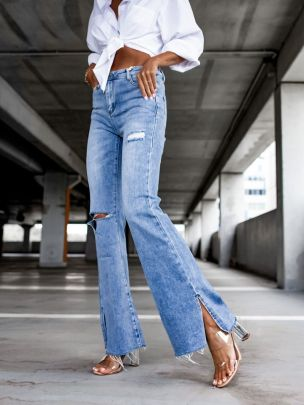 Autumn Ripped Straight Split-end Jeans Nihaostyles Wholesale Clothing NSJRM81897