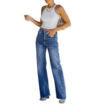 Autumn Straight-leg Raw-edge Jeans Nihaostyles Wholesale Clothing NSJRM81899