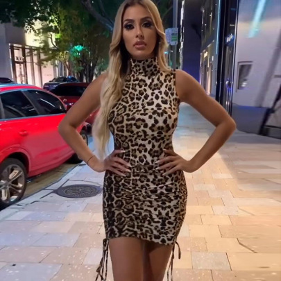 Summer Halterneck Pleated Package Hip Leopard Print Tight Dress Nihaostyles Wholesale Clothing NSJRM81908
