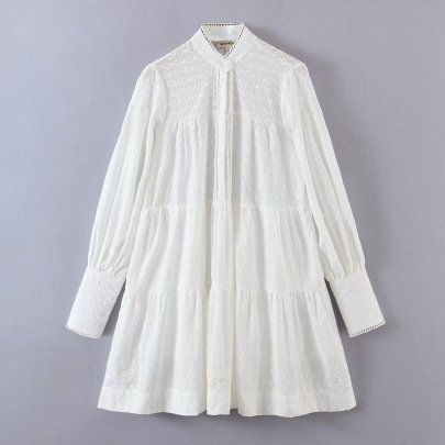 Embroidered Stand Collar Lantern Sleeve Short Dress Nihaostyles Wholesale Clothing NSAM81935
