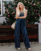 Spring And Summer Striped Sexy V-neck Halterneck Jumpsuit Nihaostyles Wholesale Clothing NSJRM81941