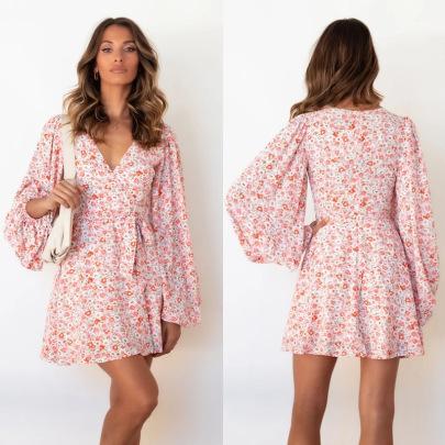 Autumn V-neck Lantern Sleeve Floral Dress Nihaostyles Wholesale Clothing NSJRM81947