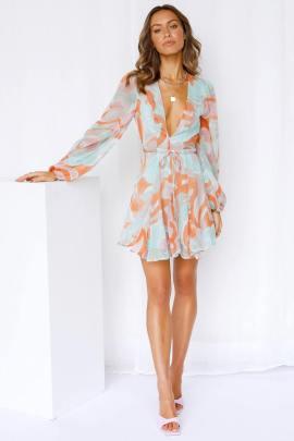 Autumn Deep V Lace Print Lantern Sleeve Short Dress Nihaostyles Wholesale Clothing NSJRM81956