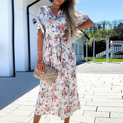 Summer Women's V-neck Print Lace-up Mid-length Dress Nihaostyles Wholesale Clothing NSZH81962