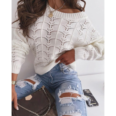 Women's Bat Sleeve Hollow Thin Knitted Sweater Nihaostyles Wholesale Clothing NSZH81963