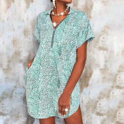Women's V-neck Print  Zipper Loose Dress Nihaostyles Wholesale Clothing NSZH81965