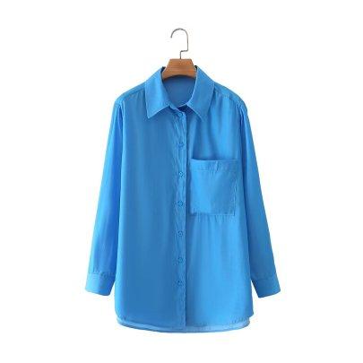 Autumn Solid Color Lapel Blouse Nihaostyles Wholesale Clothing NSAM81977