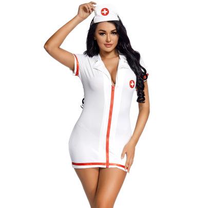 Halloween Cosplay Nurse Tight-fitting Package Hip Zipper Dress Nihaostyles Wholesale Halloween Costumes NSPIS81986