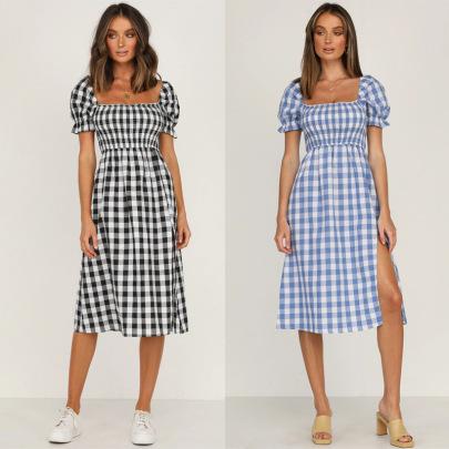 Square Collar Split Plaid Dress Nihaostyles Wholesale Clothing NSJRM81745