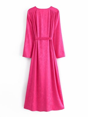 V-neck Lace-up Receiving Waist Dress Nihaostyles Wholesale Clothing NSAM81821