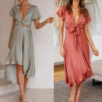 Summer Women's Deep V-neck Irregular Dress Nihaostyles Wholesale Clothing NSJRM81953