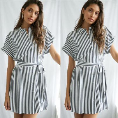 Summer Button Lace Striped Shirt Dress Nihaostyles Wholesale Clothing NSJRM81971