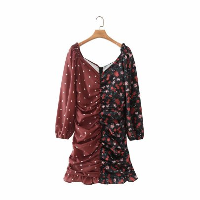 Autumn Color Matching Polka Dot Print Pleated Dress Nihaostyles Wholesale Clothing NSAM81979