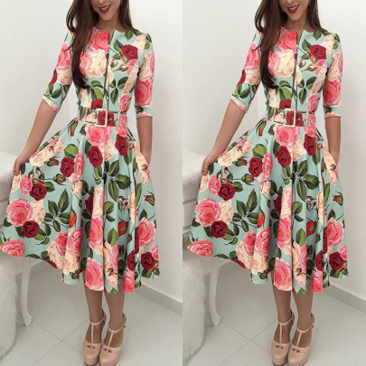 Floral Print Receiving Waist With Belt Dress Nihaostyles Wholesale Clothing NSJRM81853