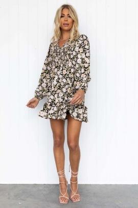 Autumn V-neck Ruffle Floral Print Dress Nihaostyles Wholesale Clothing NSJRM81948