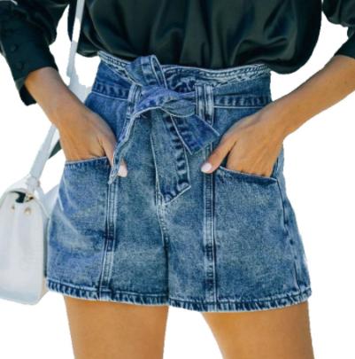 Summer Straight-leg High Waist Lace Up Denim Shorts Nihaostyles Wholesale Clothing NSJRM81950