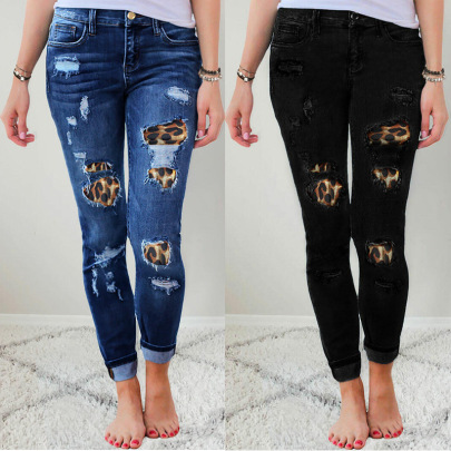 Leopard Print Ripped Stretch Jeans Nihaostyles Wholesale Clothing NSJRM81903