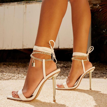 Women's Pointed Toe Metal Chain High Heel Strap Sandals Nihaostyles Wholesale Clothing NSSO81990