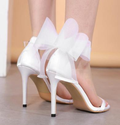 Women's  Big Mesh Bow Buckle Stiletto Sandals Nihaostyles Wholesale Clothing NSSO81991