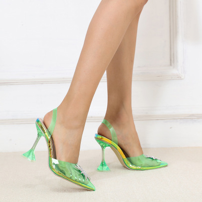 Women's Fluorescent Green Transparent Pointed Toe Shallow Mouth Stiletto Sandals Nihaostyles Wholesale Clothing NSSO81992