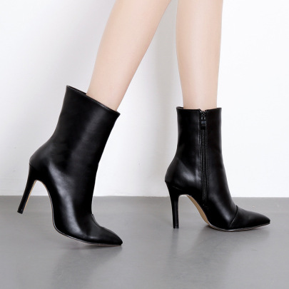 Autumn And Winter Women's Pointed Toe Mid-tube Stiletto Boots Nihaostyles Wholesale Clothing NSSO81995