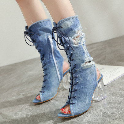 Women's Thick Heel Fish Mouth Strap Denim Boots Nihaostyles Wholesale Clothing NSSO81997