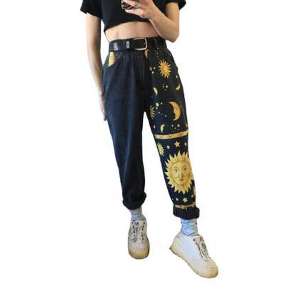 Digital Printing Straight-leg Jeans Nihaostyles Wholesale Clothing NSJRM82007