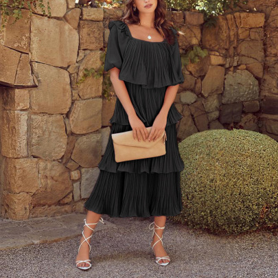 Women's Square Neck Lantern Sleeve Stitching Dress Nihaostyles Wholesale Clothing NSZH82016